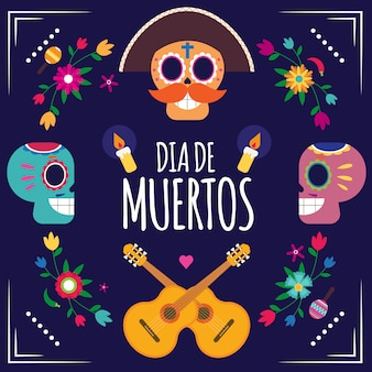 Dia de muertos carnevale messicano
