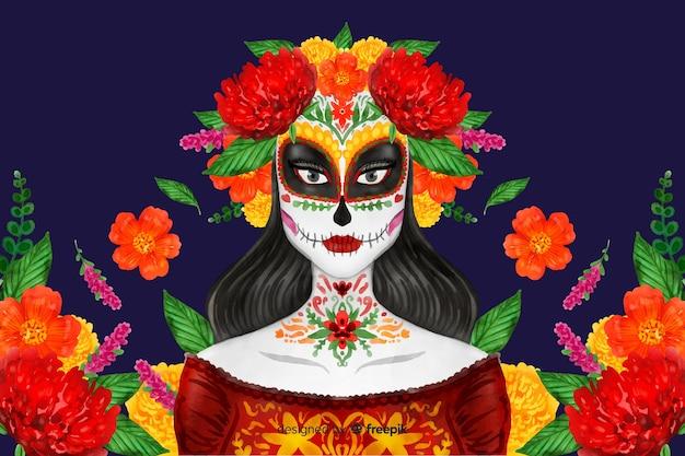 Día de muertos concept con sfondo acquerello