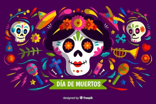 Día de muertos concept con sfondo design piatto