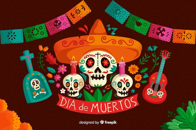 Día de muertos concept con sfondo disegnato a mano
