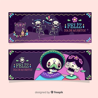 Día de muertos design di banner