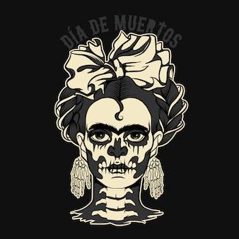 Dia de muertos donna con scheletro