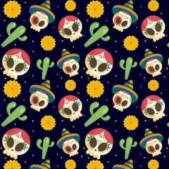 Dia de muertos pattern in design piatto