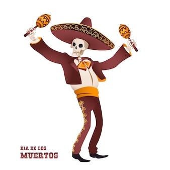 Dia de muertos. scheletro di musicista mariachi tradizione messicana