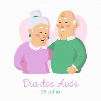 Dia dos avós con coppia di anziani