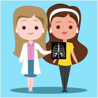 Diagnosi del dottore with a patient x ray