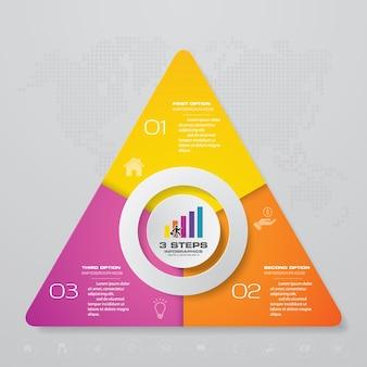 Diagramma degli elementi infografica processo a 3 passaggi.