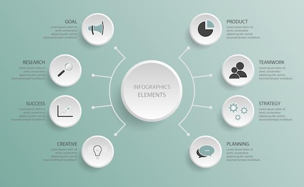 Diagramma del diagramma di flusso. modello di infografica con cinque passaggi per ricerca di successo, lavoro di squadra, pianificazione, creatività, prodotto, obiettivo, successo, strategia