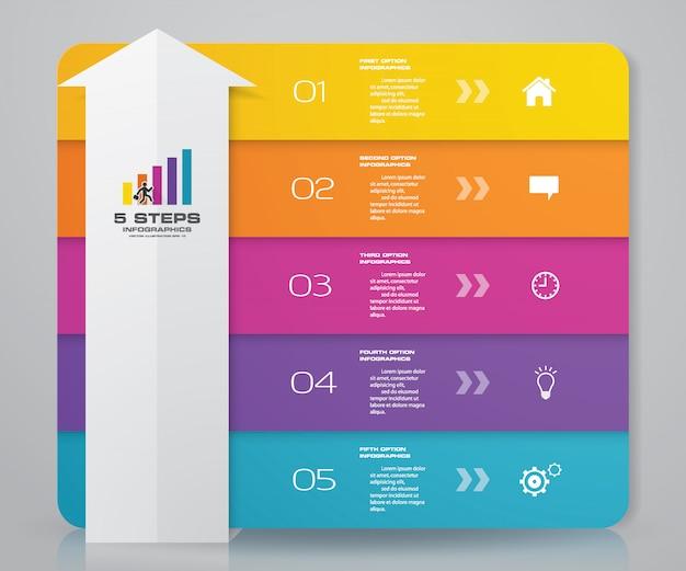 Diagramma del modello dell'elemento di infographics della freccia di 5 punti.