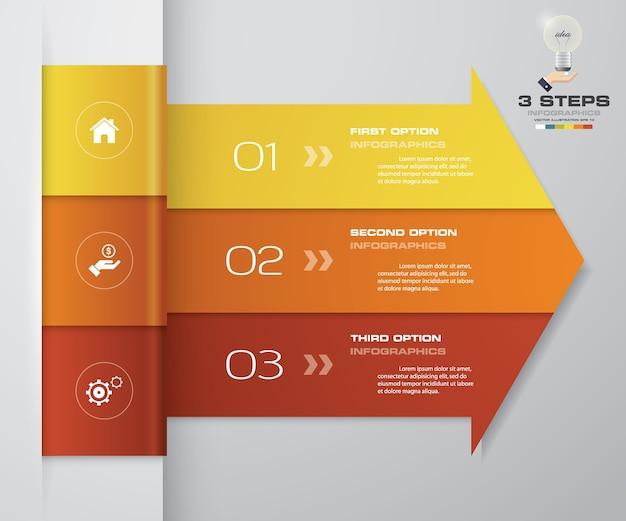 Diagramma di elemento di infographics della freccia di 3 punti.