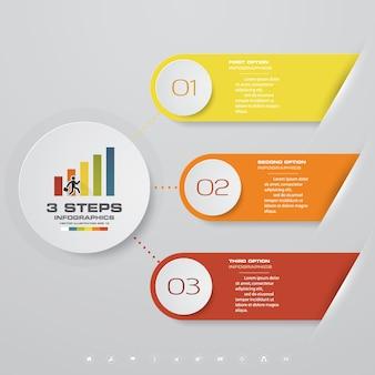 Diagramma di elemento infografica 3 passi per la presentazione.