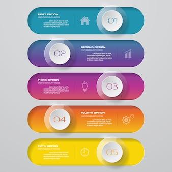 Diagramma di elemento infografica 5 passi per la presentazione.