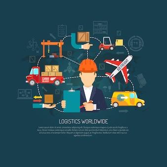 Diagramma di flusso del concetto di operazioni logistiche in tutto il mondo