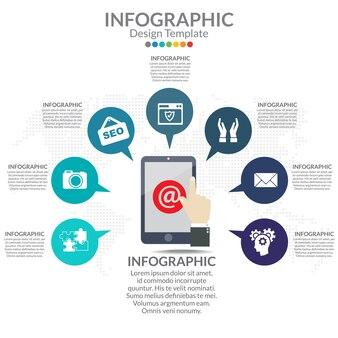 Diagramma di infografica con passaggi, opzioni, parti o processi. diagramma di processo.