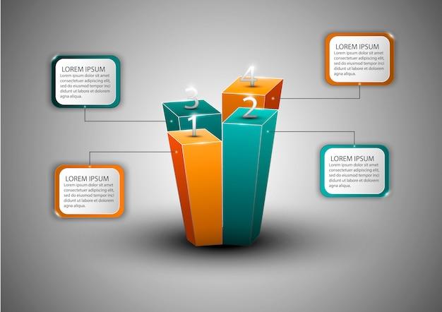 Diagramma di infografica moderna per web design, layout, relazioni finanziarie. concetto di affari.