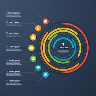 Diagramma di presentazione infografica cerchio 7 opzioni.