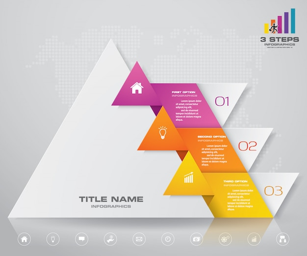 Diagramma di presentazione piramidale a 3 passaggi. eps10.