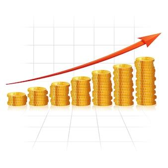 Diagramma incrementale fatto di monete d'oro realistiche