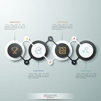 Diagramma orizzontale, 4 elementi rotondi collegati in due modi diversi, pittogrammi a linea sottile e caselle di testo. fasi del concetto di avanzamento del lavoro.