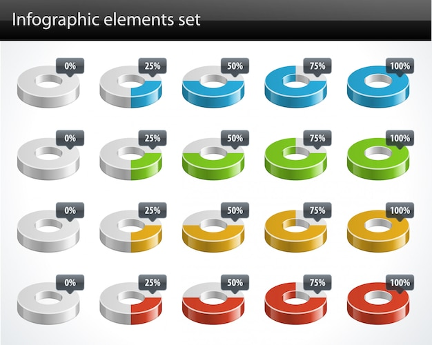 Diagrammi circolari 3d e elementi di disegno vettoriale di percentuale