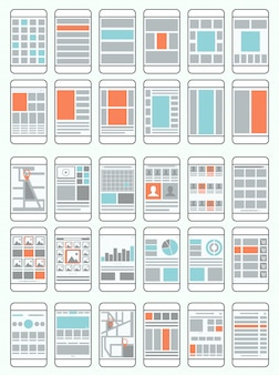 Diagrammi di flusso per telefoni cellulari, wireframe, set di layout di interfaccia per applicazioni mobili