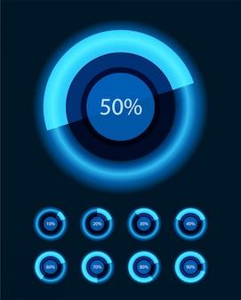 Diagrammi tondi e percentuale di elementi di design vettoriale per la presentazione aziendale infografica