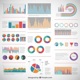 Diagrammi variopinti per infografica