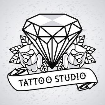 Diamante di lusso con grafica tatuaggio fiori rose