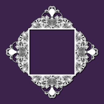 Diamante floreale decorativo a taglio laser con interno quadrato