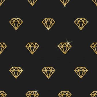 Diamanti oro glitter - sfondo senza soluzione di continuità.
