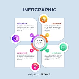 Diapositiva design gradiente infografica aziendale