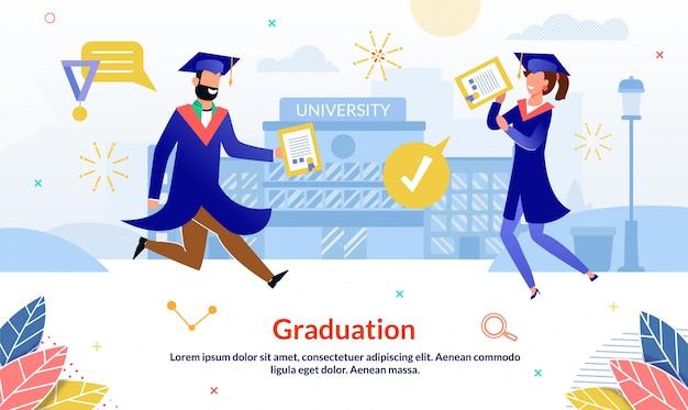 Diapositiva di eventi di laurea piatto felice