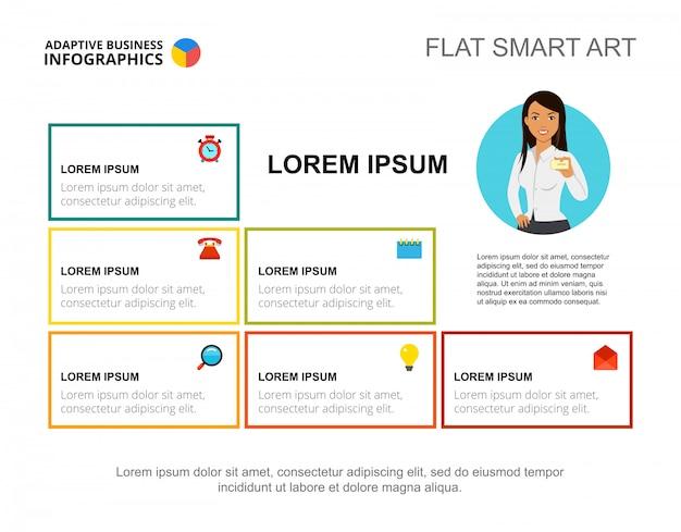 Diapositiva di presentazione con blocchi informativi aziendali. modello di diapositiva di presentazione modificabile