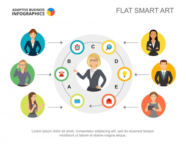 Diapositiva di presentazione con informazioni sullo staff dell'azienda. modello modificabile, arte smart piatta.