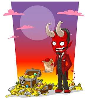 Diavolo rosso del fumetto con contratto e scrigno