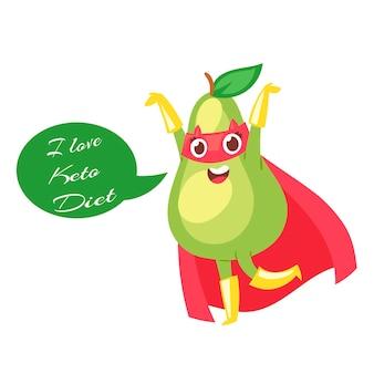 Dieta cheto con avocado verde carino cartone animato in mantello saver rosso su bianco