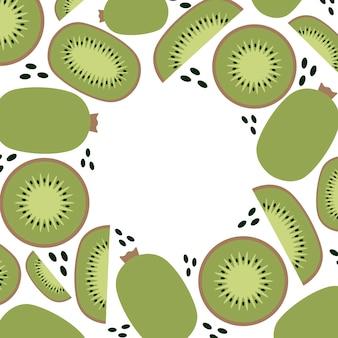 Dieta keto e vegana, sfondo cornice kiwi, pianta alla moda, vettore in stile piatto.