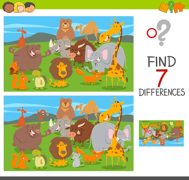 Differenze puzzle game con personaggi animali