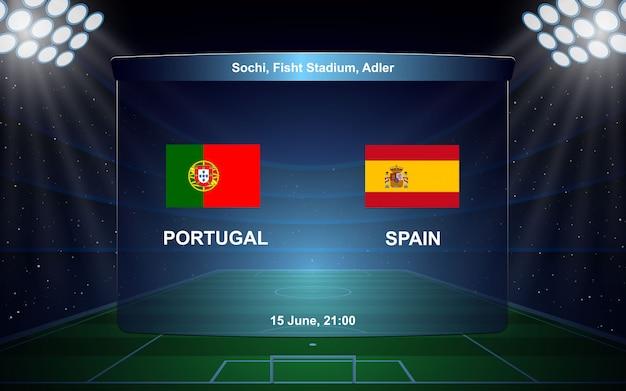Diffusione del tabellone segnapunti di calcio portogallo vs spagna