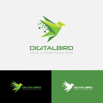 Digital bird origami logo vector template