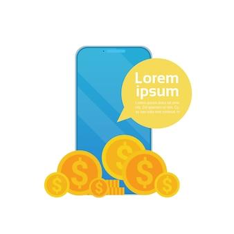 Digital wallet app: monete che cadono dallo schermo di un cellulare smart web. tecnologia di web banking online
