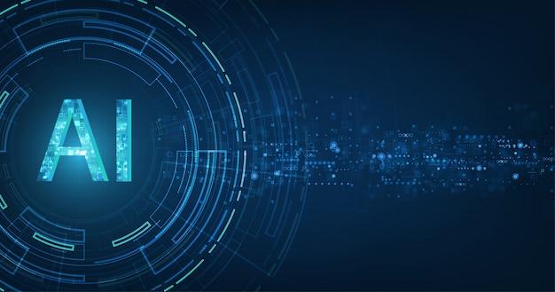Digitale e tecnologia futuristici astratti su blu scuro