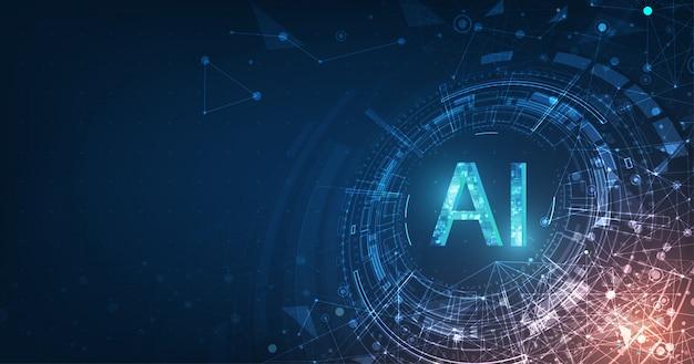 Digitale e tecnologia futuristici astratti sul fondo blu scuro di colore