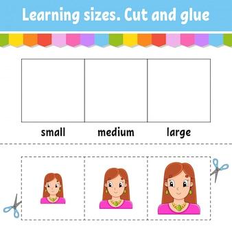 Dimensioni di apprendimento. taglia e incolla. livello facile. foglio di lavoro per attività a colori.