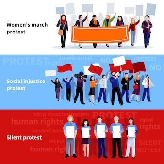 Dimostrazione delle donne marciano ingiustizie sociali e silenziose persone di protesta con megafoni