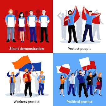 Dimostrazione silenziosa e gente di protesta politica con i megafoni dei cartelli e l'illustrazione di vettore isolata pianamente dell'insieme di caratteri delle bandiere