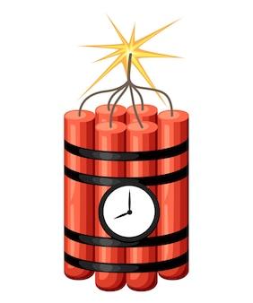Dinamite con orologio. bomba a orologeria pronta per l'esplosione. . illustrazione su sfondo bianco. pagina del sito web e app per dispositivi mobili.