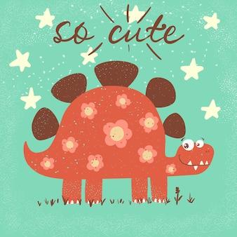 Dino carino divertente, illustrazione di dinosauro.