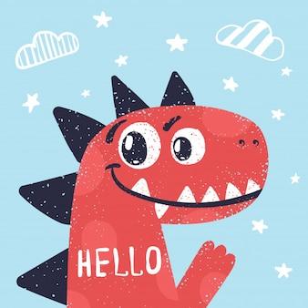 Dino carino, illustrazione di dinosauro per t-shirt stampata.