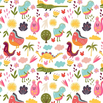 Dino seamless pattern